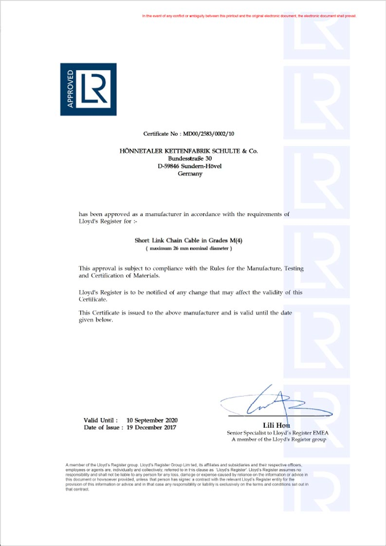 LR Approval of Manufacturer Certificate
